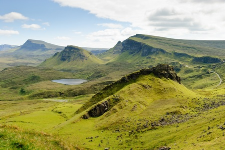 skye: View on the beautiful rock formations of the Quiraing, Isle of Skye, Scotland