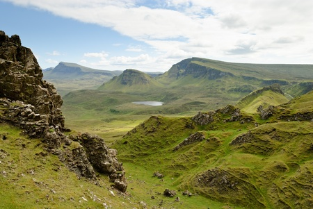 View on the beautiful rock formations of the Quiraing, Isle of Skye, Scotland