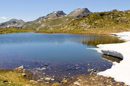Mountain lake in Pyrenees at summer Stock Photo