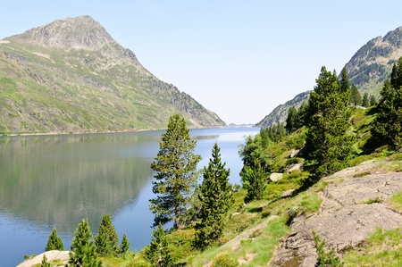 Lake Naguille in Pyrenees at summer