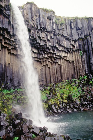 torrent: Famous 20m high Svartifoss waterfall surrounded by basalt columns, Skaftafell N.P., Iceland