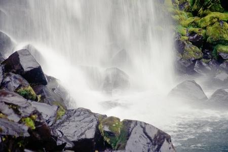 Svartifoss waterfall hits riverbed, Skaftafell N.P., Iceland