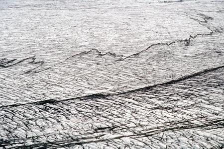 crevasse: Glacial crevasse in Skaftafellsjokull with black stripes from erosion, Skaftafell N.P., Iceland Stock Photo