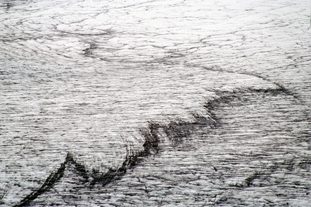crevasse: Glacial crevasse in Skaftafellsjokull with black stripes from erosion, Skaftafell N.P., Iceland Stock Photo