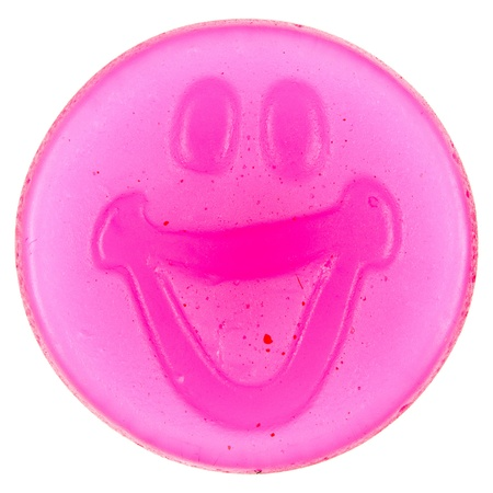 Smiley of gummy candy, isolated on white