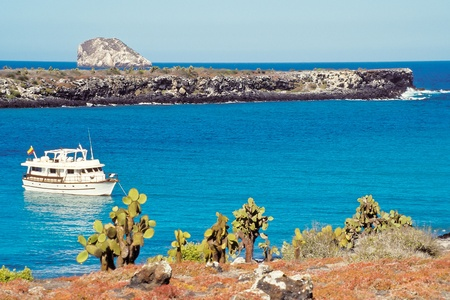 Tourist boat visits South Plaza with red sesuvium and prickly pear cactus vegetation in foreground, Galapagos Islands, Ecuador photo