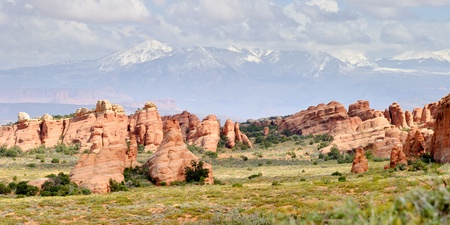 Arches National Park with Rocky Mountains on the background, Utah, USA