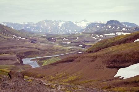 Icelandic landscape with Fjallabak nature reserve (incl. Landmannalaugar) on the background, Iceland Stock Photo