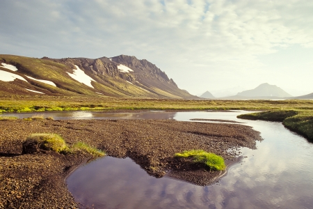iceland: Alftavatn lake in evening light, Iceland