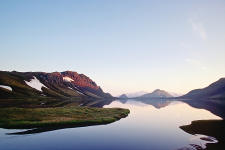 Alftavatn lake in late evening light, Iceland