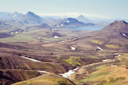 Landscape with Alftavatn lake and glacier in the background, Iceland