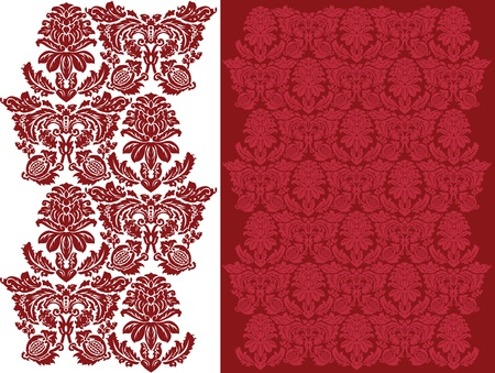 A complex floral damask pattern that repeats in all four directions.