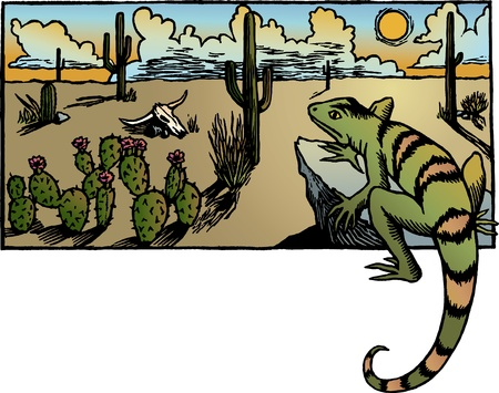 A desert sunrise landscape with cacti and a lizard. Vector