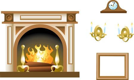 A fireplace mantel and related props.