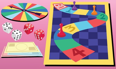 leisure games: A colorful board game and two sets of dice.