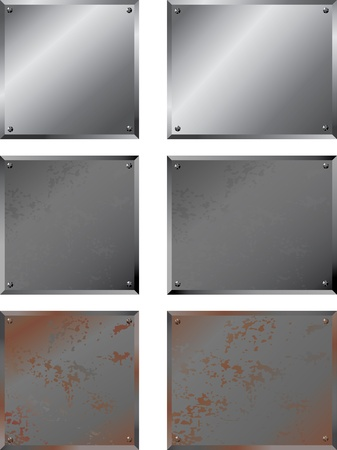 shiny metal: Shiny & Rusty Metal Plates Illustration