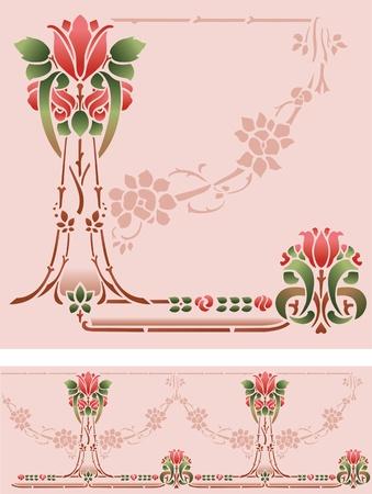 Rose Stencil Border Illustration