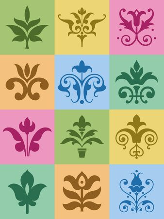 A selection of decorative floral ornaments. Illustration