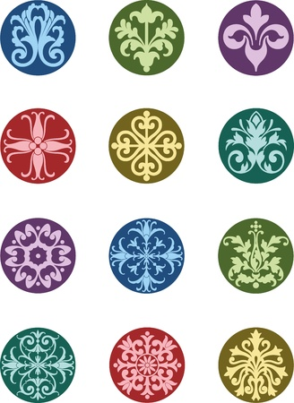 ornamental elements: Round Floral Ornaments