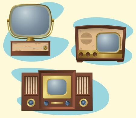 A selection of antique televisions