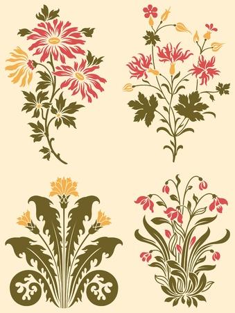 fleurs des champs: Fleurs sauvages d�coratifs Illustration