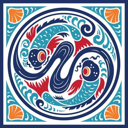 Fish Water Element Symbol Illustration