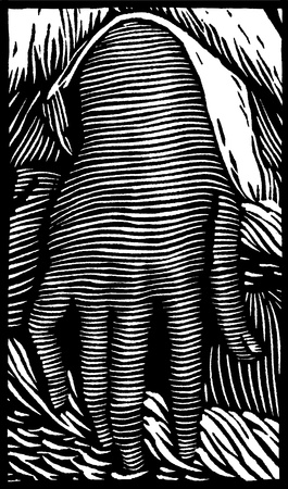 A woodcut style depiction of a female hand.