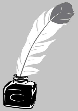 quill pen: Quill Pen   Ink Bottle Illustration