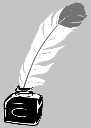 Quill Pen   Ink Bottle Imagens - 16822056