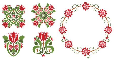 Stenciled Roses Illustration