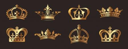 corona real: Coronas de oro Vectores