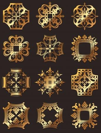 Golden Crown Symbols Illustration