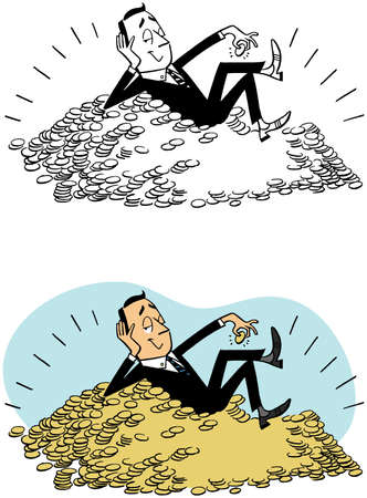 Rolling in the coins Illustration