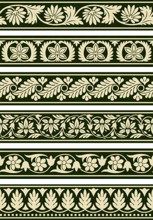 Indian Floral Borders Vector