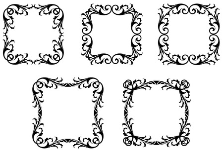 Gothic Leafy Frames Illustration