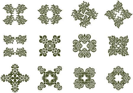 Floral Damask Design Icons Vector