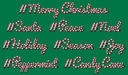 Hashtag Christmas Candy Cane Illustration