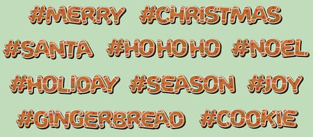 Hashtag Christmas Gingerbread Cookie Illustration
