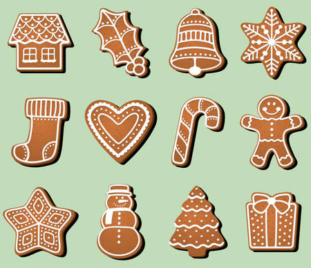 Gingerbread Christmas Cookies Vector