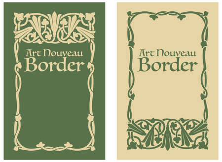 Art Nouveau Floral Border Illustration