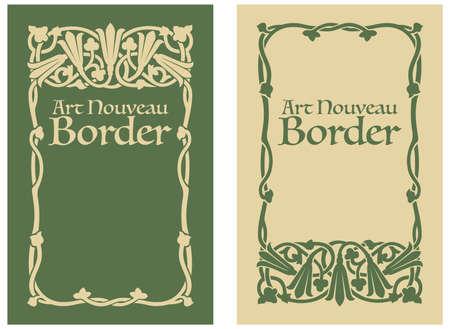bordes decorativos: Arte Nouveau floral de la frontera Vectores