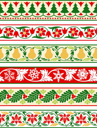 Christmas holiday floral decorative borders