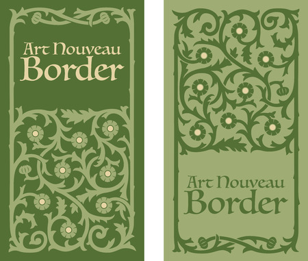 Art Nouveau decorative floral border Illustration