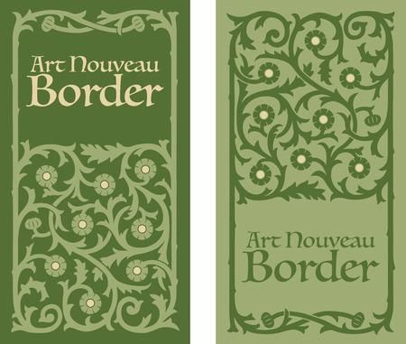 Art Nouveau decorative floral border Illustration