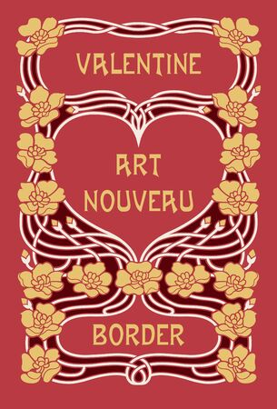 Art Nouveau Valentines Day Border