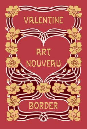 Art Nouveau Valentines Day Border