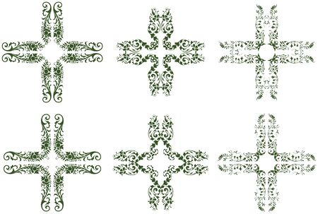 Leafy floral cross shaped design icons