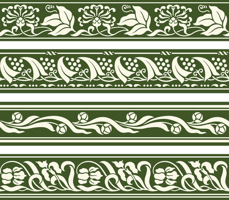 Spring floral seamless repeating border designs Illustration