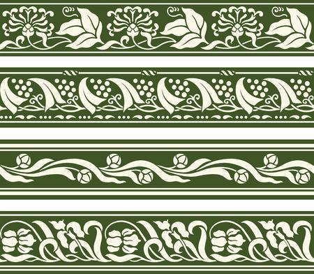 Spring floral seamless repeating border designs Illustration