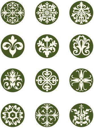 Round floral decorative design icons